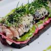 Сморреброд с сельдью и печеными овощами на финском хлебе Parmesan (Пармезан)