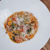 Ризотто Чоризо с томатами в соусе Гремолата Parmesan (Пармезан)