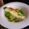 Стейк из лосося с соусом из красной икры со свежей зеленью Parmesan (Пармезан)